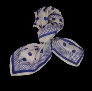 Fashionable White & Blue Dots Square Scarf